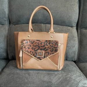 SHARIF Genuine Brown Leather Cheetah Print Satchel
